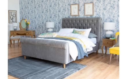 Double (4ft 6) Grey Fabric Bed Frame - Sofia