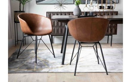 Brown Faux Leather Dining Chair - Beck