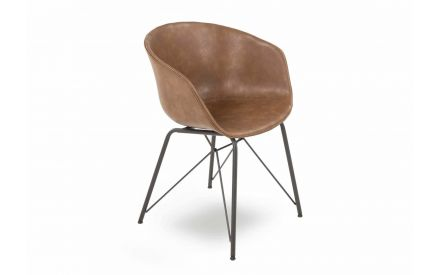 A  tub shaped dining chair in brown pu fabric with metal legs from EZ Living Furniture's Beck range. Angled view.