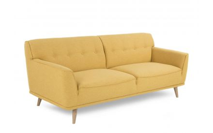 A 3 Seater Sofa with yellow fabric & wood feet from EZ Living Furniture's Capri Range. Angled view.