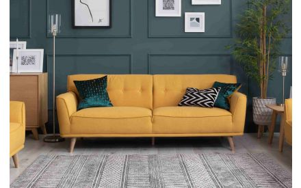 3 Seater Mustard Fabric Sofa - Capri
