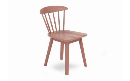 A terracotta brown oak dining chair with sculpted back from EZ Living Furniture's Spindle range. Angled view.