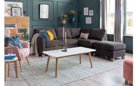 Charcoal Fabric LAF Corner Chaise - Turin