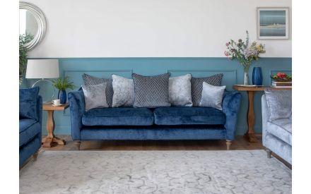 4 Seater Blue Fabric Pillowback Sofa - Sophia