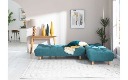 Teal Fabric Sofa Bed with Chaise- Vegas