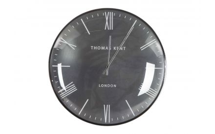 The Medium Silver Oyester wall clock from the Thomas Kent collection at EZ  Living Furniture - front view
