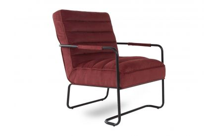 A dark red fabric lounge chair on a black metal frame from EZ Living Furniture's Dante range. Angled view of cushioned seat