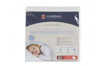 The Guardsman Super King 6ft mattress protector in its packaging. Front view.