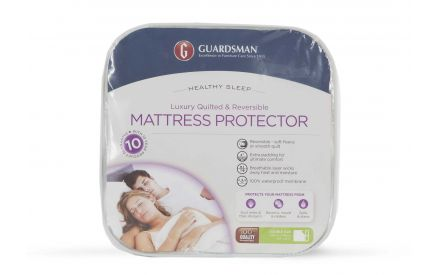 A luxury mattress protector in Double (4ft 6) from EZ Living Furniture's Guardsman range. Front view of the packaging.