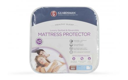 A luxury mattress protector in King Size (5ft) from EZ Living Furniture's Guardsman range. Front view of the packaging.
