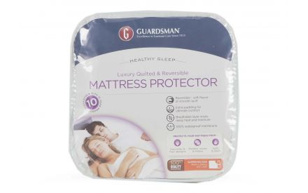 A luxury mattress protector in Super King (6ft) from EZ Living Furniture's Guardsman range. Front view of packaging.