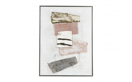 A canvas print with neutral & pink abstract shapes from EZ Living Furniture's Wall Art Balance range. Front view.