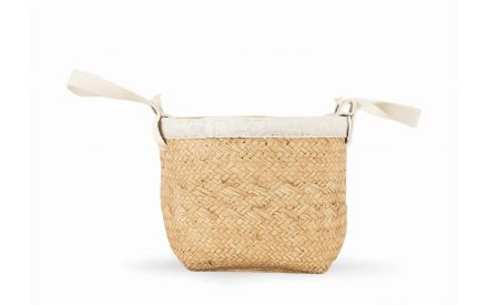 A cement planter with fascia of a woven basket with cotton handle from EZ Living Furniture's Rattan range. Front view Large