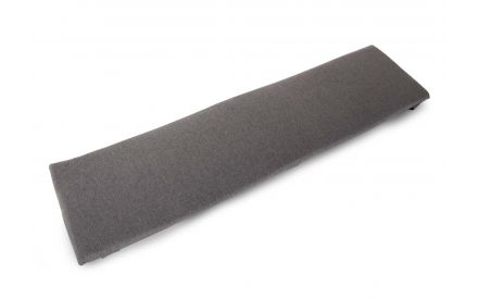 A large grey fabric dining bench seat pad for the Tiverton dining bench. Angled view of rectangular padding