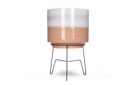 A small brown & white plant pot on a stand from EZ Living Furniture's Veda range. Front view of pot