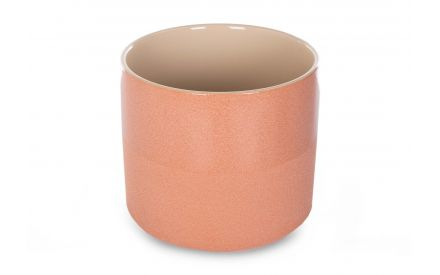 A peach ceramic plant pot from EZ Living Furniture's Coby range. Angled view