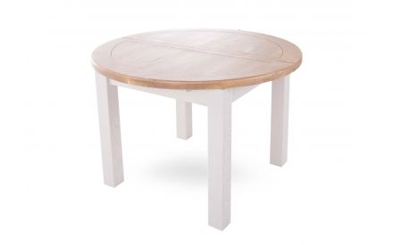 A round grey painted oak dining table from EZ Living's Country Cottage Range. Angled view