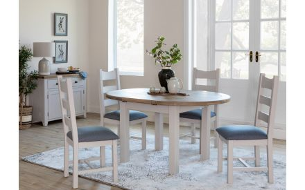 Round Grey Smoked Oak Extendable Dining Table - Country Cottage 2020