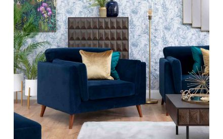 45cm Blue/Green Velvet - Cushion