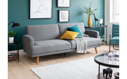 Dark Grey Fabric 3 Seater Sofa Bed - Grant