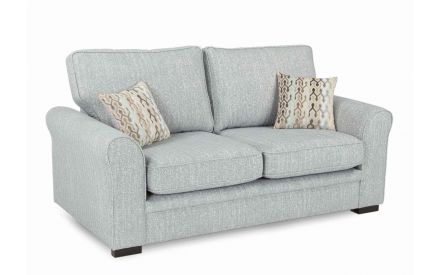 A grey accent fabric 2 seater with 2 mixed print cushions from EZ Living Furniture's Valencia range. Angled view.