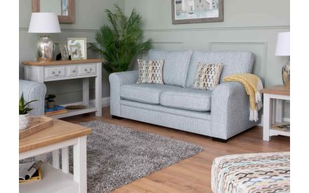 2 Seater Blue Fabric Highback Sofa - Valencia