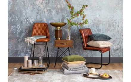 Brown Leather Bar Stool - Gus