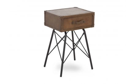 A tan brown leather case lamp table with 1 drawer & iron legs from EZ Living Furniture's Nelson range. Angled view.