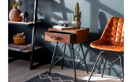 Brown Antique Leather Lamp Table - Nelson
