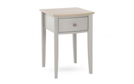 An oak & grey locker with high legs & 1 drawer from EZ Living Furniture. Angled view shows oak top