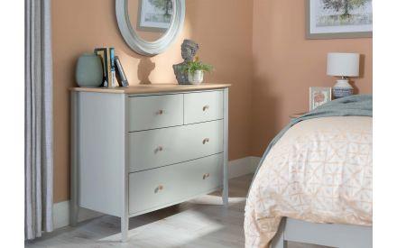 4 Drawer Scandi Oak & Grey Chest - Whitby