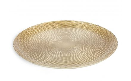 A gold glass decorative plate from EZ Living Furniture's Christmas collection. Angled view of embossed design.