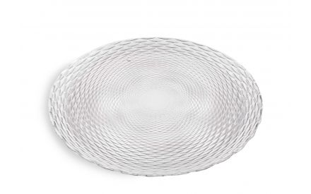 A clear glass decorative plate with embossed design from EZ Living Furniture's Christmas glassware. Angled view