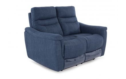 A teal fabric 2 Seater fixed sofa from EZ Living Furniture's Flair range. Angled view of padded seat & back cushions