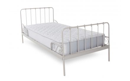 A single 3ft grey metal bed frame with high headboard & footend from EZ Living Furniture's Alice range. Angled view.