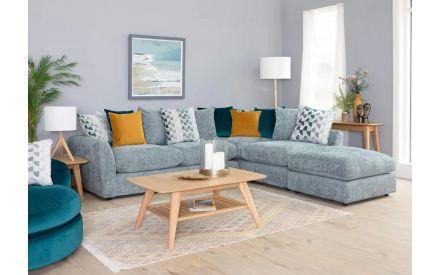 Blue Fabric Pillowback Combi LHF Corner Sofa - Santiago