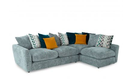 A grey fabric LHF Corner sofa with 12 mixed scatter cushions from EZ Living Furniture's Santiago range. Angled view of sofa.