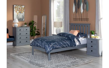 Small Double (4ft) Grey Bed Frame - Atlas