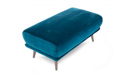 A teal velvet large footstool with wood legs from EZ Living Furniture's Katie range. Angled view of the fabric