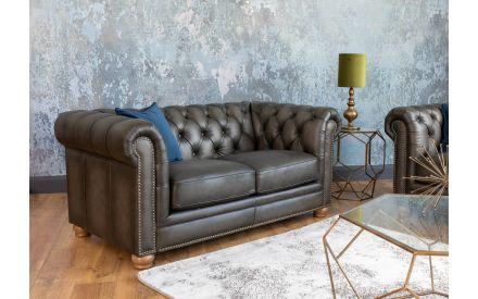 2 Seater Vintage Grey Leather Sofa - Charterhouse