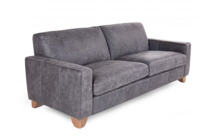 A grey leather 2 seater sofa from EZ Living Furniture's Marco Range. Angled view of wood feet.