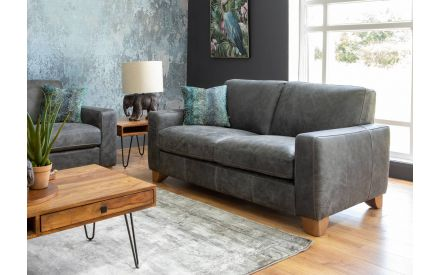 2 Seater Grey Leather Sofa - Marco