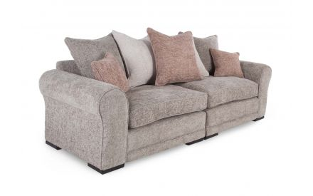 A 4 seater grey hopsack linen Pillowback sofa from EZ Living Furniture's Kenmare range. Angled view of 4 + 2 small cushions.