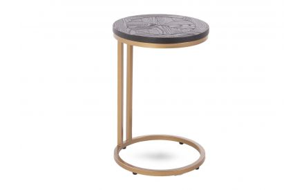 A dark ash & brass sofa table from EZ Living Furniture's Chevron range. Angled view of side table & metal frame