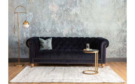 Brown Ash & Brass Sofa Table - Chevron