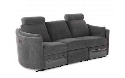 A grey fabric 3 seater reclining curved sofa from EZ Living Furniture's Dunloe range. Angled view of 2 headrests