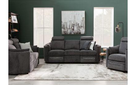 3 Seater Grey Fabric Power Reclining Sofa - Dunloe