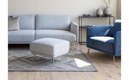 Small Silver Fabric Footstool - Matera
