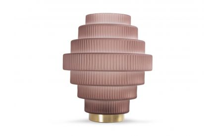 A large brown glass table lamp from EZ Living Furniture's Lizzy range. Front view of circular ridged edge shape