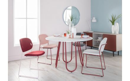 Speckled Round Dining Table with Red Legs - Stulle